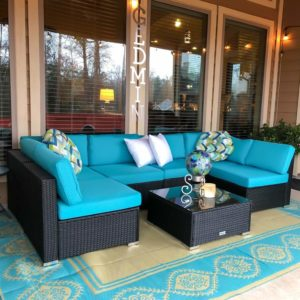 Incredible Peach Tree 7 Pcs Outdoor Patio Sectional Sofa Furniture Set Onthecornerstone Fun Painted Chair Ideas Images Onthecornerstoneorg